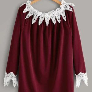 Burgundy Lacce Blouse in 1XL, 2XL, 3XL, and 4XL
